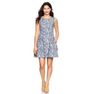Gap Chambray Cotton Dress Fit & Flare Pockets